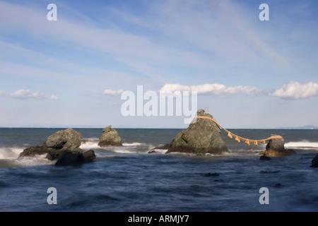 Meoto Iwa Wedded Rocks off the coast of Futamigaura Beach, Futami Town, Mie Prefecture Japan - Stock Image