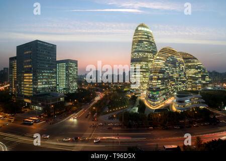 WangJing Soho business district at night in Beijing, China. - Stock Image