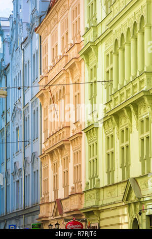 Prague street color, typical pastel-coloured buildings in the Stare Mesto (Old Town) district of Prague, Czech Republic. - Stock Image