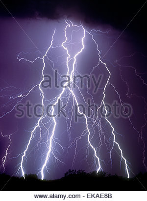 Huge lightning bolts in the desert North of Tucson Arizona near Picacho Peak from a sumer monsoon thunderstorm. - Stock Image