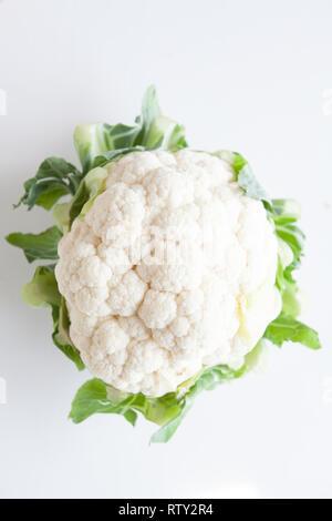 Fresh vegetables, white cauliflower - Stock Image