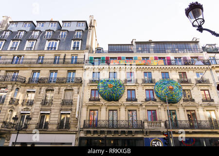 Building on 59 Rivoli street, an artists squat in the centre of Paris, France. - Stock Image