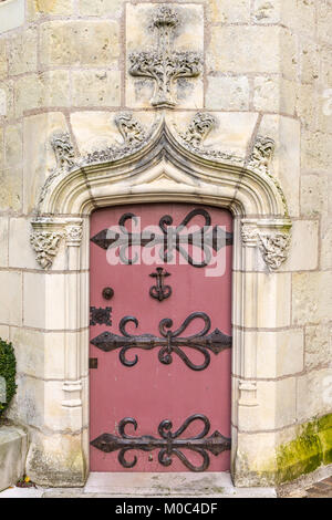 Close up of a red door at Château de Langeais, Indre-et-Loire, France - Stock Image
