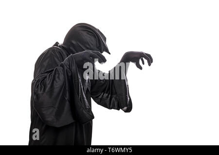 Spooky monster in hooded cloak isolated on white background - Stock Image