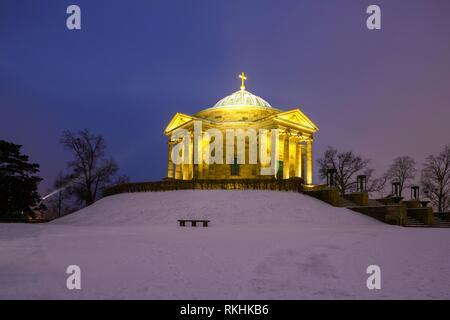 Grave chapel in winter, Rotenberg, Stuttgart, Baden-Württemberg, Germany - Stock Image