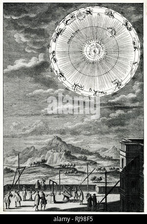 Astronomers of the 18th century observe the skies and discern the figures of the Zodiac - Stock Image