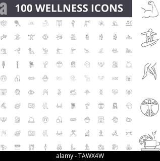 Wellness line icons, signs, vector set, outline illustration concept  - Stock Image