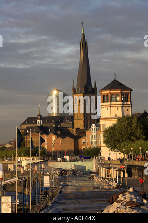 Victoria Insurance Building, St Lambertus Church and Schlossturm River Rhine Dusseldorf Germany - Stock Image