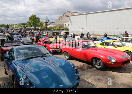 TVR Tuscan and Jaguar E-Type, British Marques Day, 28 April 2019, Brooklands Museum, Weybridge, Surrey, England, Great Britain, UK, Europe - Stock Image