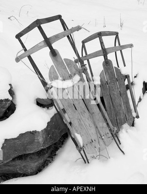Sleds Essex Junction Vermont USA - Stock Image
