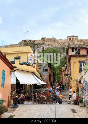 Bars restaurants in Plaka, Athens: Klepsidra Cafe - Stock Image