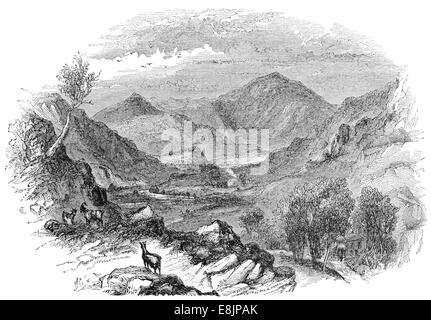 Cader Cadair Idris from the Brafch Coch  Gwynedd North Wales circa 1880 - Stock Image