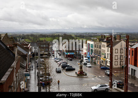 Looking down over dungannon market square and surrounding countryside on a wet day dungannon county tyrone northern ireland uk - Stock Image
