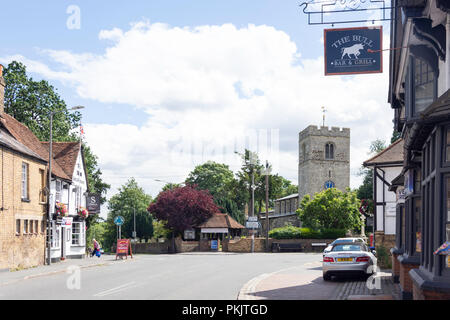 St Peter's Church and High Street, Iver, Buckinghamshire, England, United Kingdom - Stock Image