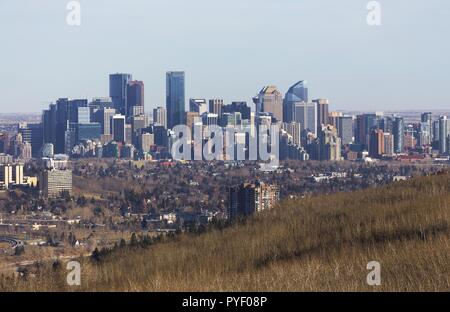 City of Calgary Downtown Skyline in Southern Alberta Canada - Stock Image