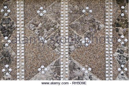 Detail of shell hut in Lower Grosvenor Gardens, Westminster, London - Stock Image