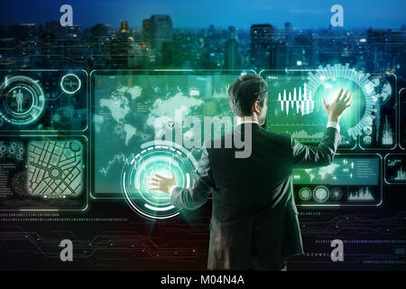 businessperson and futuristic interface. Internet of Things. Smart City. - Stock Image