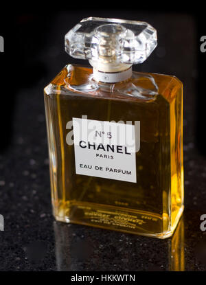 Chanel number 5 perfume bottle - Stock Image