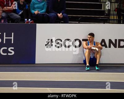 Glasgow, UK: 2st March 2019: Guy Learmonth crashed out of the Men 800m semi final on European Athletics Indoor Championships 2019.Credit: Pawel Pietraszewski/ Alamy News - Stock Image