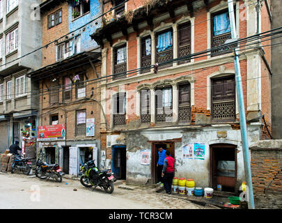 Residential and commercial buildings in the city centre of Kathmandu, Nepal - Stock Image