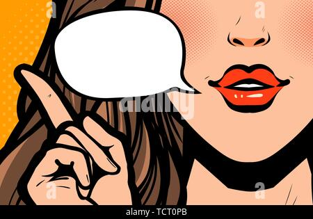 Beautiful girl or young woman says. Pop art retro comic style. Cartoon vector illustration - Stock Image