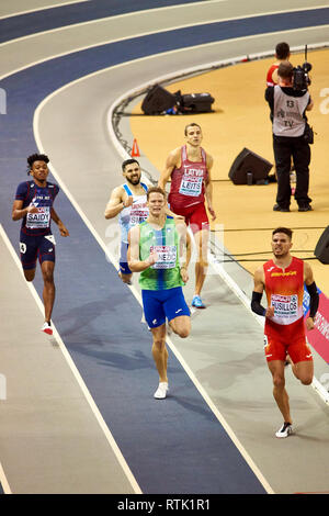 Glasgow, UK. 1st Mar, 2019. Owen Smith fails to qualify in 400m mens race on European Athletics Indoor Championships 2019. Credit: Pawel Pietraszewski/Alamy Live News - Stock Image