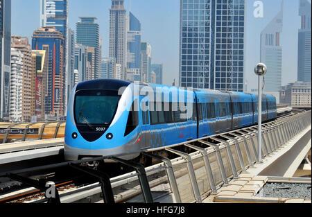 aerial Metro financial district Sheikh Zayed Road  Dubai United Arab Emirates - Stock Image