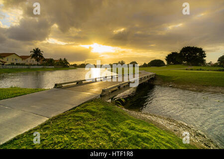 Miami Sunset - Stock Image