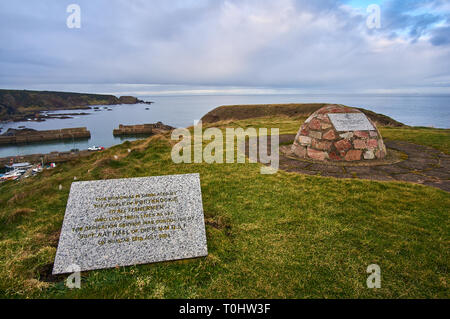 A memorial from people of Portknockie to all fishermen who lost lives at sea, Scotland, UK - Stock Image