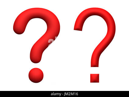 illustration of red 3d rendered question marks, isolated on white background - Stock Image