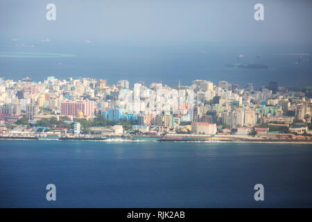 Male Maldives, seen from the air - an aerial view of buildings on the island of Male, capital city of the Maldives Islands, Maldives Asia - Stock Image