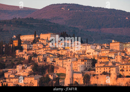 Sunset on the old town, Spello, Umbria, Italy, Europe - Stock Image