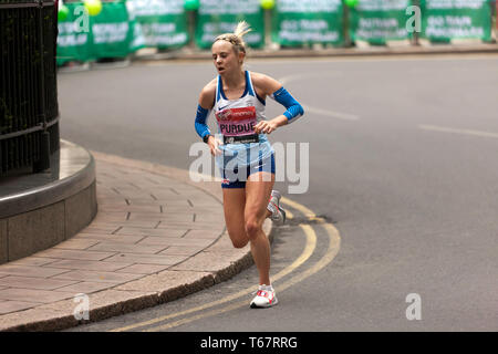 Charlotte Purdue running for Great Britain, in the Elite Women's 2019 London Marathon. Charlotte finished 10th, in a time of  02:25:38 - Stock Image