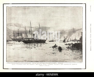 1901 The Graphic Royal Yacht Alberta at Portsmouth Harbour Carrying the Body of Queen Victoria - Stock Image