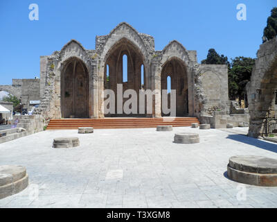 Ruins of the Church of the Virgin of the Burgh in the Old Town of Rhodes, Greece - Stock Image