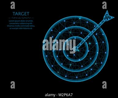 Target low poly model, Arrow and aim in polygonal style, get into the bullseye wireframe vector illustration made from points and lines - Stock Image