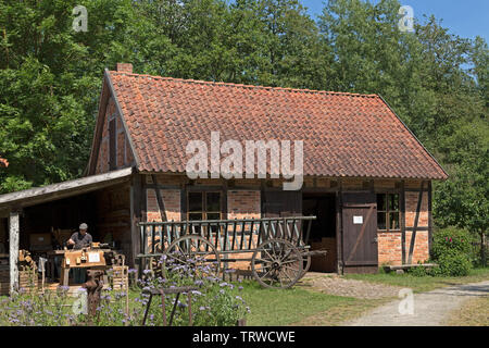 open-air museum during Kulturelle Landpartie, Luebeln, Wendland, Lower Saxony, Germany - Stock Image