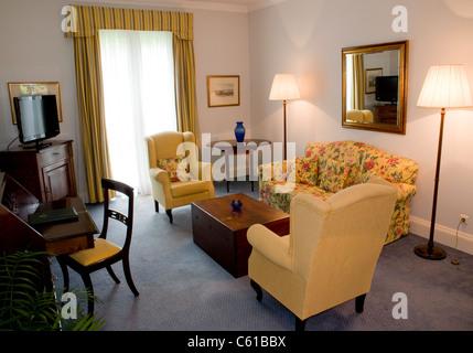 The interior of the Casa Velha do Palheiro hotel in Madeira, Portugal - Stock Image