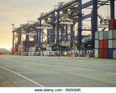 Cranes at Port of Felixstowe, England - Stock Image