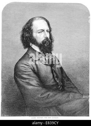 Alfred Tennyson 1st Baron 1809 - 1892, Poet Laureate 1864 - Stock Image