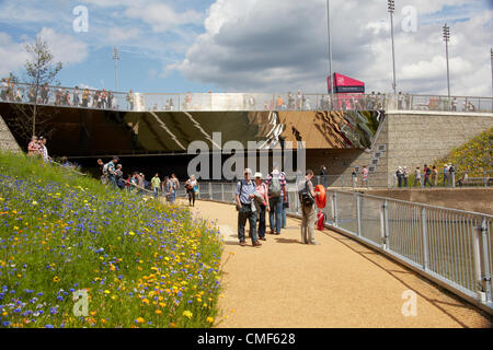 People walking by River Lea and Great British Garden at Olympic Park, London 2012 Olympic Games site, Stratford - Stock Image