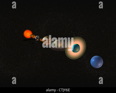 Solar system with the sun in the center and the planets mercury, Venus, earth, mars, Jupiter, Saturn, Uranus, Neptune - Stock Image