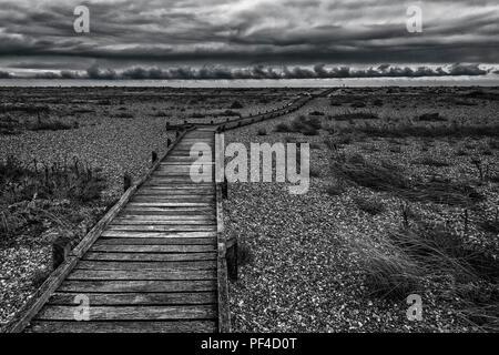 The Boardwalk,Dungeness,Shingle,Beach,Bleak Landscape,Kent,UK - Stock Image