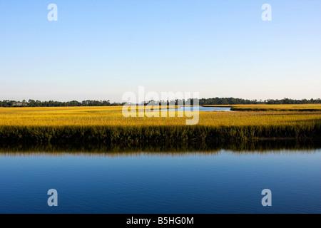 early morning photo of wetlands Kiawha Island, So. Carolina - Stock Image