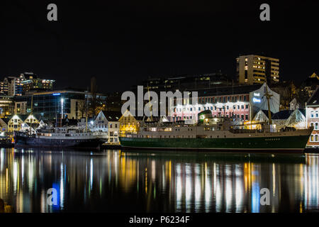 Rogaland and Sandnes Ships at Night, Stavanger harbour - Stock Image