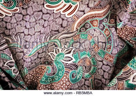 unique pattern batik fabric textile industry indonesia culture for fashion - Stock Image