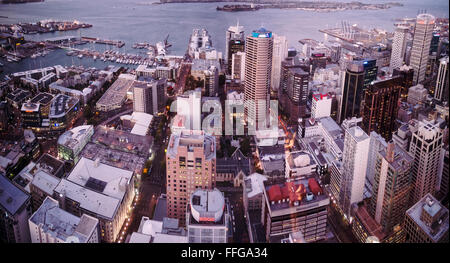 View of Auckland harbour from the Sky Tower - Stock Image