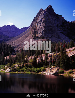 Sundial Peak and Lake Blanche, Big Cottonwood Canyon, Twin Peaks Wilderness, Wasatch-Cache National Forest, Wasatch - Stock Image