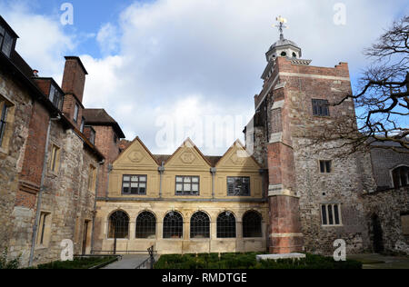 The former Charterhouse school in the Smithfield area of Clerkenwell, London. It is now an almshouse for 40 male pensioners known as Brothers - Stock Image