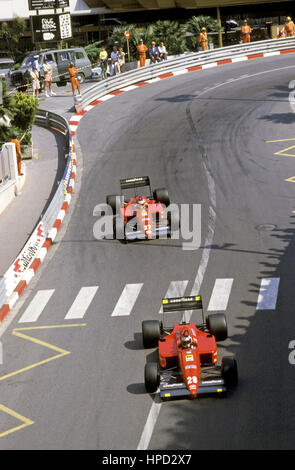 1987 Gerhard Berger Austrian 4th Michele Alboreto Italian 3rd Ferrari F187 Monaco GP - Stock Image